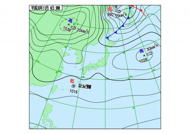 午前9時の天気図